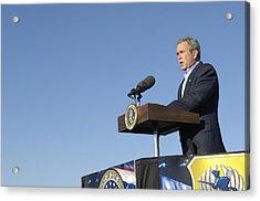 President George W. Bush Speaking Acrylic Print by Everett