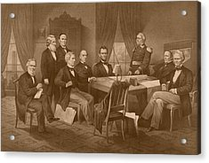 President Lincoln - His Cabinet And General Scott Acrylic Print