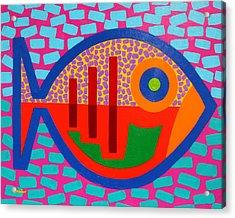Psychedelic Fish Acrylic Print by John  Nolan
