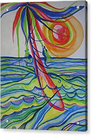 Acrylic Print featuring the painting Psychedelic Palm Tree by Erika Swartzkopf