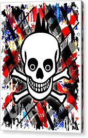 Punk Rock Skull Acrylic Print by Roseanne Jones