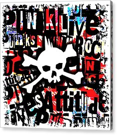 Punk Skull Acrylic Print by Roseanne Jones