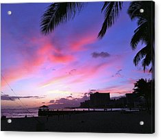 Purple Ocean Sunset Acrylic Print by Erika Swartzkopf