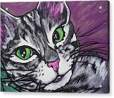 Acrylic Print featuring the painting Purple Tabby by Sarah Crumpler