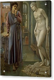 Pygmalion And The Image The Hand Refrains Acrylic Print by Edward Burne-Jones