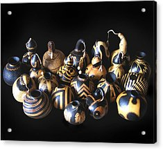 Pyrographed Gourds Acrylic Print