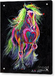 Queen Of Hearts Pony  Acrylic Print by Louise Green