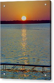 Quite Pier Sunset Acrylic Print