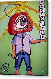 Radio Head Man Acrylic Print by Erica Shaw