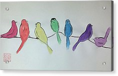 Rainbow Birds Acrylic Print
