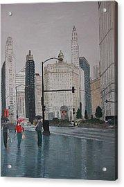 Rainy Day Chicago Acrylic Print by Jacob Stempky