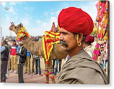 Rajasthani Man Acrylic Print by Nila Newsom