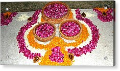 Rangoli- Festive Colours Acrylic Print by Sunaina Serna Ahluwalia