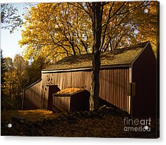 Red Barn At Dawn Acrylic Print by Joshua Francia