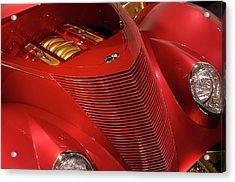 Red Classic Car Details Acrylic Print by Oleksiy Maksymenko
