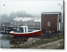 Red Fishing Boat In Fog Nova Scotia Acrylic Print by Richard Singleton