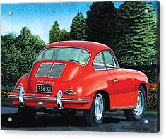 Acrylic Print featuring the painting Red Porsche 356c by Rod Seel