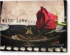 Red Rose On Typewriter Acrylic Print by Anastasy Yarmolovich