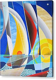 Acrylic Print featuring the painting Red Sail In The Sunset by Douglas Pike