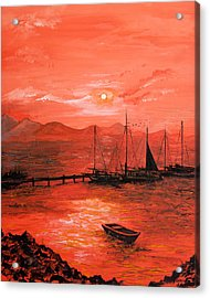 Red Sea Sunset Acrylic Print by Jane Woodward