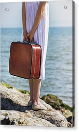 Red Suitcase Acrylic Print by Joana Kruse