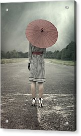 Red Umbrella Acrylic Print by Joana Kruse