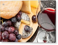 Red Wine With Wine Grapes Cheese Plate And Bread Acrylic Print