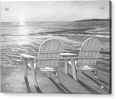 Relaxing Sunset - Black And White Acrylic Print by Lucie Bilodeau