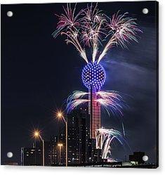 Reunion Tower Fireworks Acrylic Print