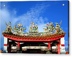 Acrylic Print featuring the photograph Richly Decorated Chinese Temple Roof by Yali Shi