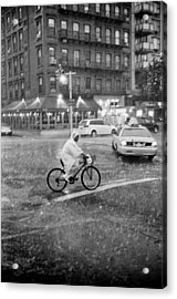 Acrylic Print featuring the photograph Rider In The Rain by Dave Beckerman