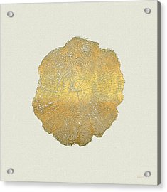 Rings Of A Tree Trunk Cross-section In Gold On Linen  Acrylic Print
