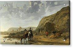 River Landscape With Horsemen Acrylic Print