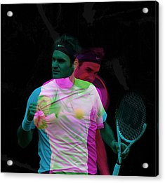 Roger Federer Double Color Exposure Acrylic Print by Srdjan Petrovic