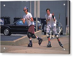 Roller Bladers In Miami Beach Acrylic Print by Carl Purcell