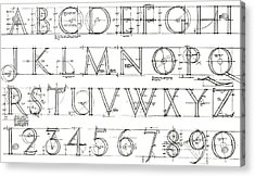 Roman Lettering From The Trajan Column Acrylic Print by English School