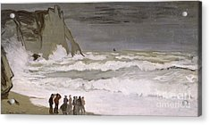 Rough Sea At Etretat Acrylic Print by Claude Monet