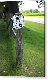 Acrylic Print featuring the photograph Route 66 Shield And Fence Post by Frank Romeo