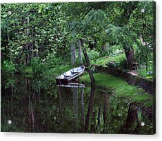 Rowboat In Woods Acrylic Print by Michael L Kimble