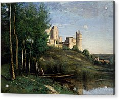 Ruins Of The Chateau De Pierrefonds Acrylic Print by Jean-Baptiste-Camille Corot