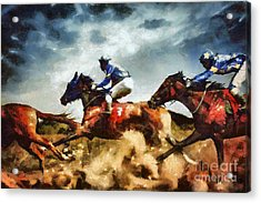 Acrylic Print featuring the painting Running Horses Competition Jockeys In Horse Race by Dimitar Hristov