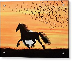 Running In The Wind Acrylic Print by Connie Valasco