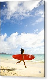 Running With Surfboard Acrylic Print by Dana Edmunds - Printscapes