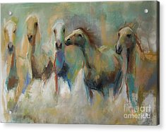 Acrylic Print featuring the pastel Running With The Palominos by Frances Marino