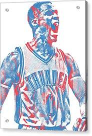 Russell Westbrook Oklahoma City Thunder Pixel Art 31 Acrylic Print