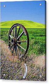 Rustic Wagon Wheel In The Palouse Acrylic Print by James Hammond