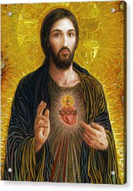 Acrylic Print featuring the painting Sacred Heart Of Jesus by Smith Catholic Art