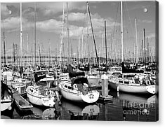 Sail Boats At San Francisco China Basin Pier 42 With The Bay Bridge In The Background . 7d7666 Acrylic Print