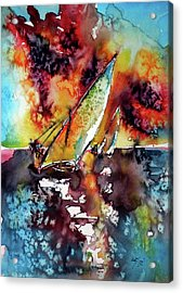 Sailboats At The Sunshine Acrylic Print by Kovacs Anna Brigitta