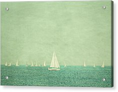 Sailboats In Pastel Acrylic Print by Erin Cadigan